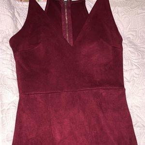 Velvet dress with slit on thigh